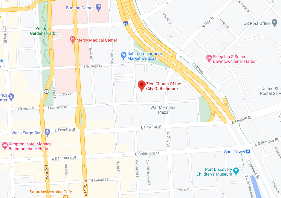 Map showing the location of Zion Church of the City of Baltimore